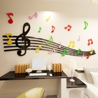 The musical notes Acrylic 3d wall stickers Children's dance room music classroom cartoon Creativity decoration