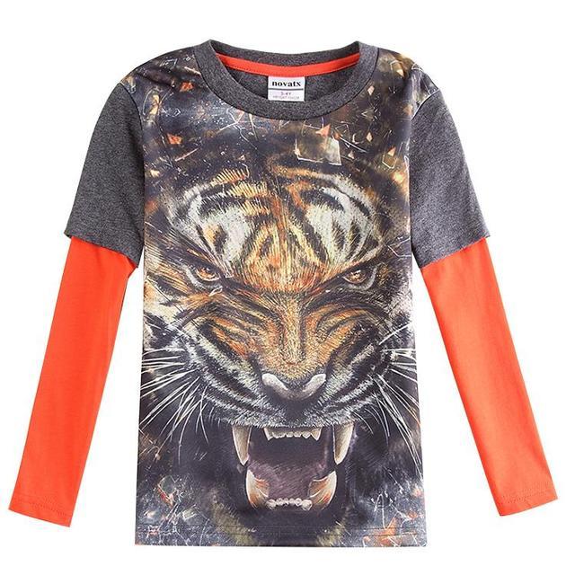 Детская одежда печати 3D тигр мальчик футболка для мальчиков с длинным рукавом футболка детская одежда марка enfant