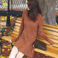 1816c Mdmy2018 Spring Color In The Long Pleated Waist Sweater Dress Clothing Wholesale