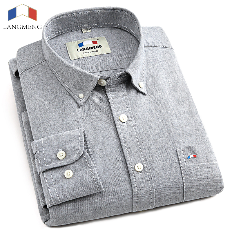 Langmeng 2017 brand clothing 100 cotton hot sale oxford for Dress shirts for men sale
