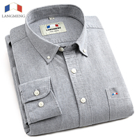 LANGMENG 2016 Bland 100 Cotton Hot Sale Oxford Men Fasion Business Shirts Male Long Sleeve Shirt