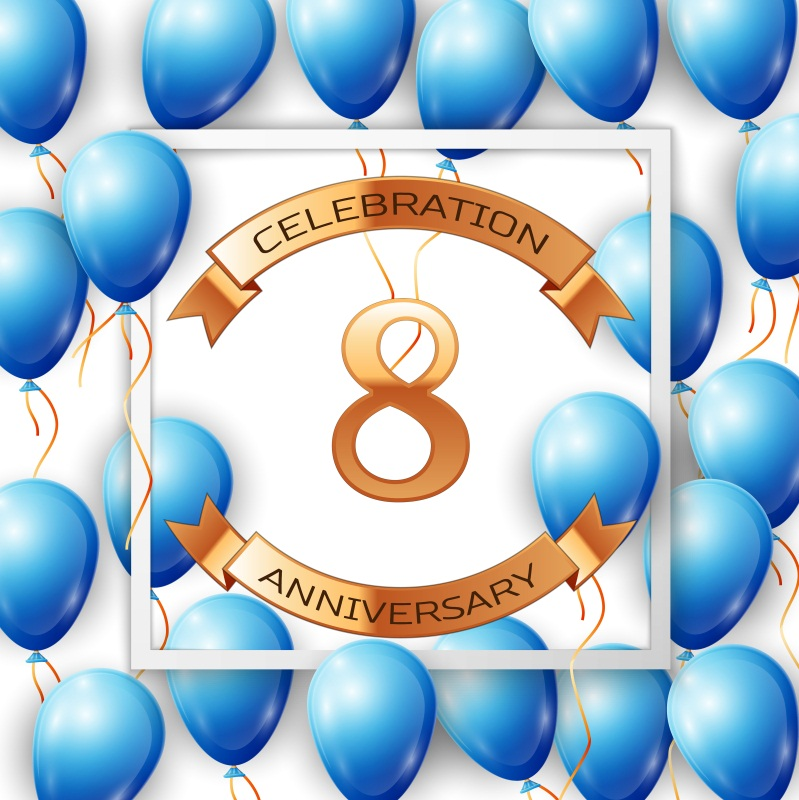 Laeacco Celebration 8th Anniversary Balloon Scene Photography Backgrounds Customized Photographic Backdrops For Photo Studio