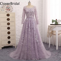 Robe De Soiree 2017 Long Sleeves Evening Dress Light Purple Lace Long Formal Party Gown Abendkleider