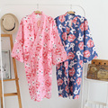 Batas De Algodón para Mujer de Algodón Albornoces de algodón de Verano Túnicas Kimono Floral Spa Robe Pijamas de Las Mujeres Kimono Japonés Yukata