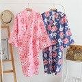 Robes De Algodão Roupões de banho de algodão Verão para As Mulheres Vestes Quimono de Algodão Floral Spa Robe Mulheres Pijama Quimono Japonês Yukata