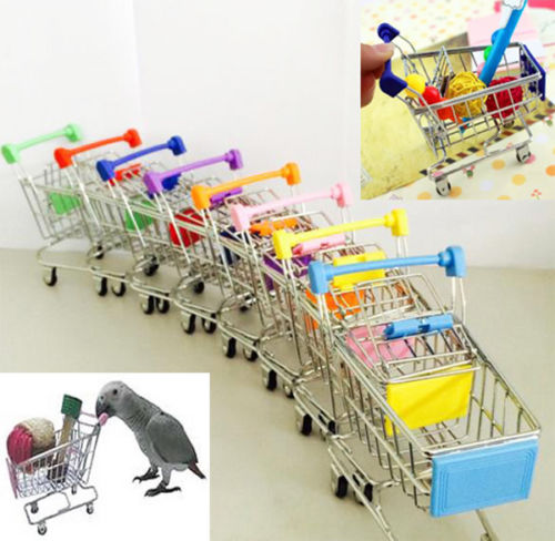 New Colorful Funny Mini Supermarket Shopping Cart Trolley Pet Bird Parrot Hamster Toy Wholesale 1pcs(China)