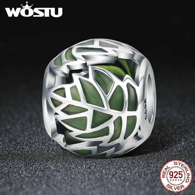 WOSTU אותנטי 925 כסף סטרלינג עץ של חיים עץ עלים ירוק אמייל חרוזים fit קסם צמיד לנשים DIY תכשיטים FIC524