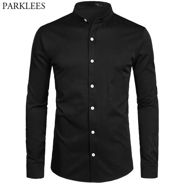 2019 novo botão para baixo trabalho de escritório de negócios masculino preto 2xl gola em banda masculina ajuste fino manga longa camisas vestido
