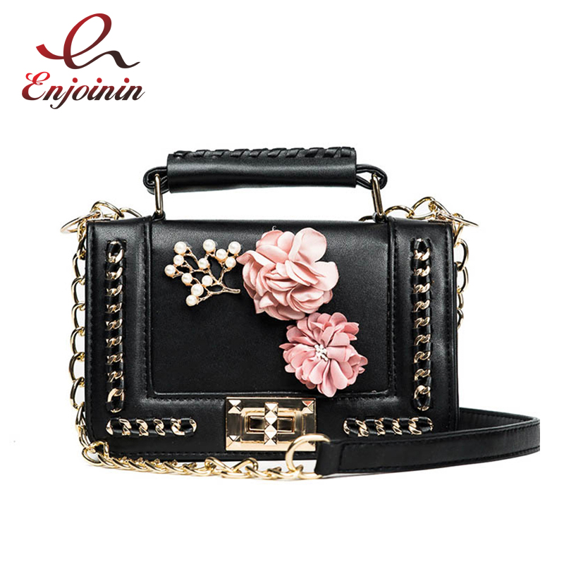 Luxury flower fashion design pu leather women's chain purse shoulder bag handbag female crossbody mini messenger bag 3 colors  fashion design bee metal pearl pu leather chain ladies shoulder bag handbag flap purse female crossbody messenger bag 5 colors