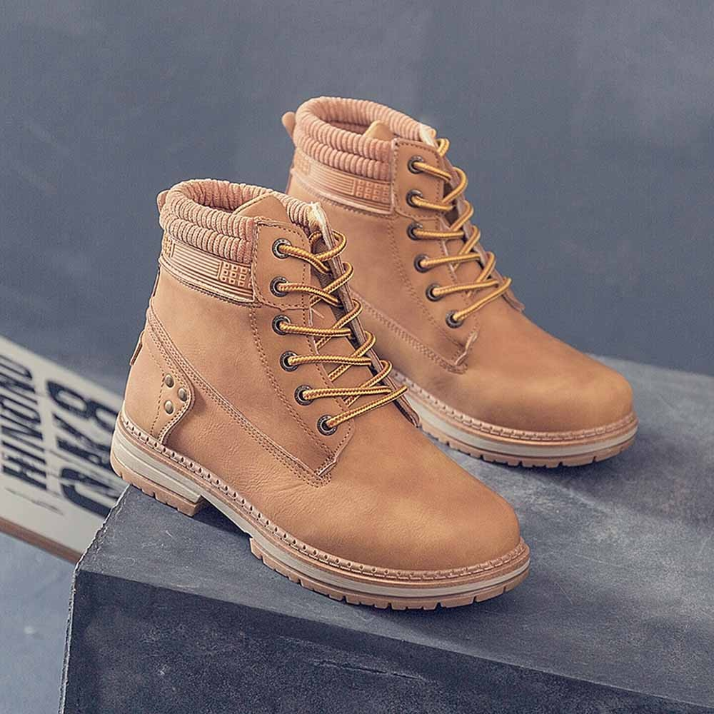 Women Boots Solid Lace Up Casual Ankle Boots Round Toe Shoes Student Snow Boots Classic Winter Warm Ladies Shoes T## 25