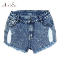 ArtSu Denim Shorts For Women Blue Jeans Hole Summer Women's Short High Waist Trousers Loose Tassel Feminino Clothing ASSH50008