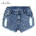 ArtSu Shorts Jeans Para Mulheres Jeans Buraco Verão das Mulheres Curtas de Cintura Alta Calças Soltas Roupas Borla Feminino ASSH50008