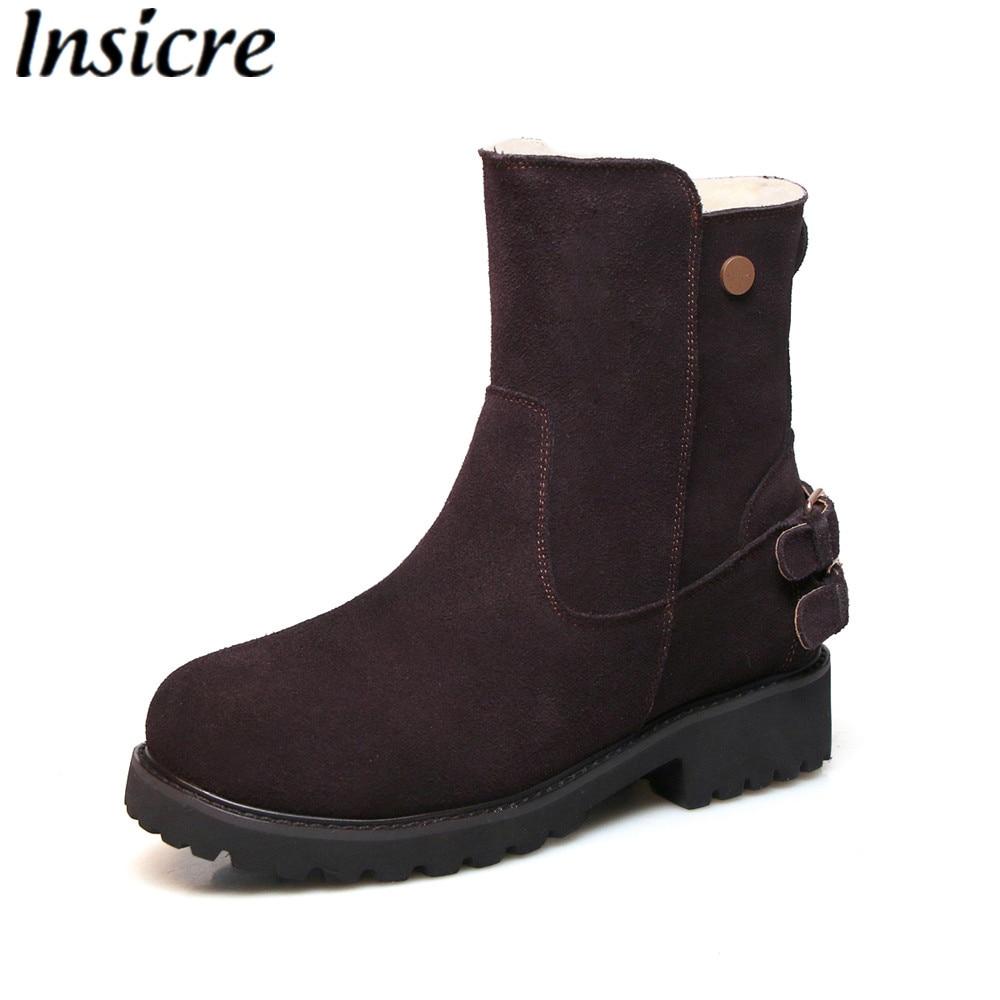 Mode Chaussures Black Cheville slip Insicre Femme Faible Daim Vache Femmes Rond Boucle Talon Bottes Brown Zipper Non Bout Neige dark En Chaud a7aqHnxvU