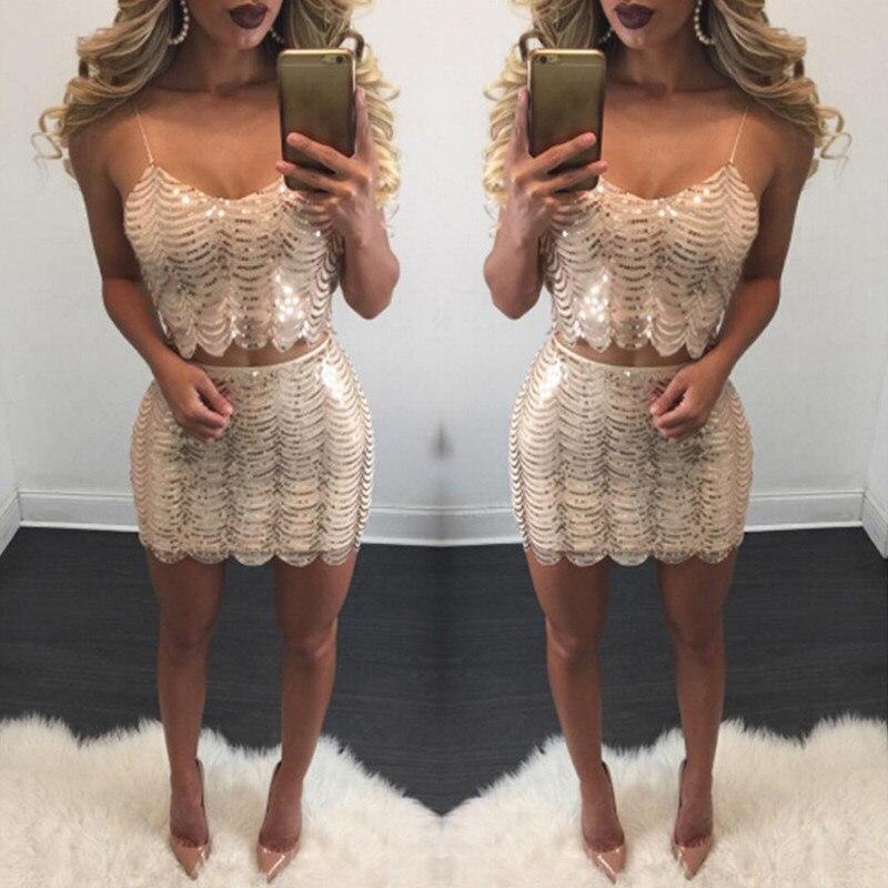 1182856c4b5e 2017 Due Pezzi Partito Delle Donne Abito Corto Aderente Sexy Oro Rosa  Vestito di paillette Collo A V Sexy Club Dress Vestido De Festa Curto in 2017  Due ...