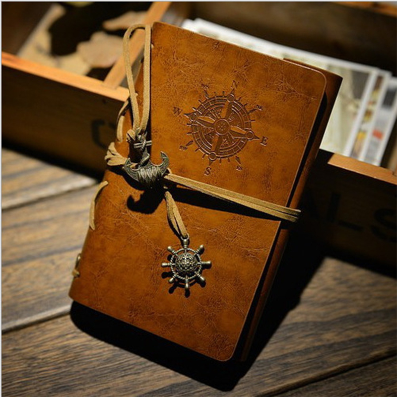 New Diary Book NoteBook Vintage Pirate Note Book Replaceable Traveler Notepad book Leather Cover Blank Notebook Journal Diary 2016 newest vintage magic key string retro leather note book diary notebook leaf leather cover blank notebook journal diary