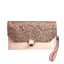 new design luxury Womens day clutches bling sequins envelope evening party hand bag chain prom weeding pink/grey/black