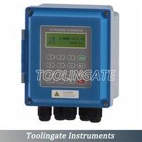 Frete Grátis Digital Ultrasonic Flow Meter com TS-2 TUF-2000B Transdutor (DN15mm-100mm) tipo fixado na parede Líquido medidor de vazão