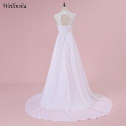 Weilinsha Cheap Stock Beach Wedding Dress Chiffon Lace Long Wedding Gowns Pregnant Bridal Dresses Plus Size Robe De Mariage 2