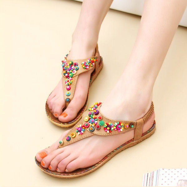 ff09742035f57e Aliexpress.com   Buy Woman Bohemian Sandals Bead Clip Toe Comfortable  Beaded Thong Shoes Boho Elastic Band Back Strap Flat Beach Shoes Big  Discount from ...
