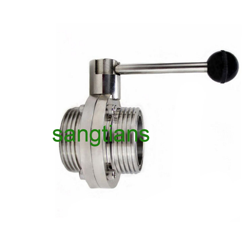 1 Inch 25mm Sanitary Butterfly Valve with Pull Handle Stainless Steel 304 Tri Clamp Clover 1 Tube OD