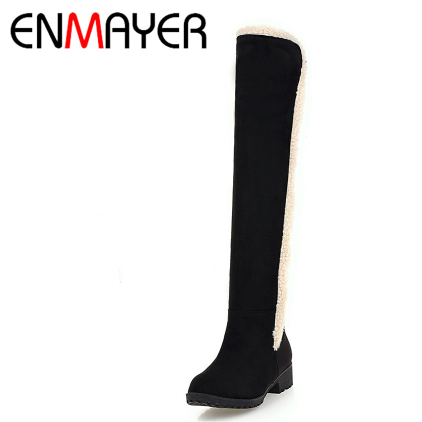 ФОТО ENMAYER Winter Warm Plush Long Boots Women Flats Flock Boots Black Gray Colors Casual Shoes Woman Boots Big Size
