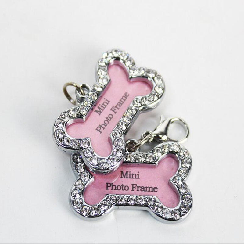 new bling crystal dog cat pet collar charms pet photo id tags frame puppy crystal photo