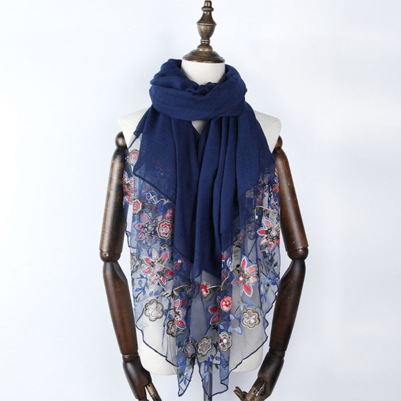 women embroider lace floral beads scarves cotton shawls muslim hijab wraps scarf headband long scarves 180