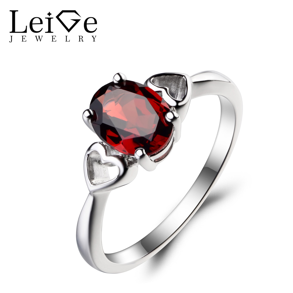 Leige Jewelry January Birthstone Natural Red Garnet Ring Wedding Ring Oval Cut Gemstone 925 Sterling Silver Ring Solitaire RingLeige Jewelry January Birthstone Natural Red Garnet Ring Wedding Ring Oval Cut Gemstone 925 Sterling Silver Ring Solitaire Ring