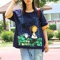 Verano de las mujeres de Impresión Ocasional de la Historieta Más El Tamaño T Shirt Señoras camisa Linda Camiseta Floja Tees Tops de Gran Tamaño