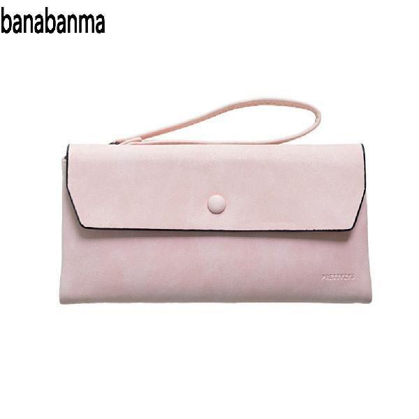 4d61af8b8d3b Banabanma Для женщин Мода PU кожа Trifold кошелек Портативный на молнии с  пряжкой Сумочка с веревкой