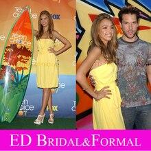 Jessica Alba Kleid zu 2007 Teen Choice Awards Trägerlosen Gelb Chiffon Short Prom Cocktail Party Kleid vestido de festa curto
