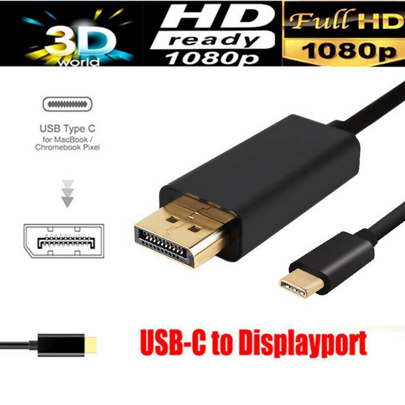 New 1.8M USB-C Type C USB 3.1 To Display Port DP 4K HDTV Converter Adapter Cable