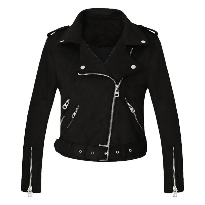 Women   Basic     Jacket   Turn Down Collar Slim Fit Suede Slanted Zipper Coat
