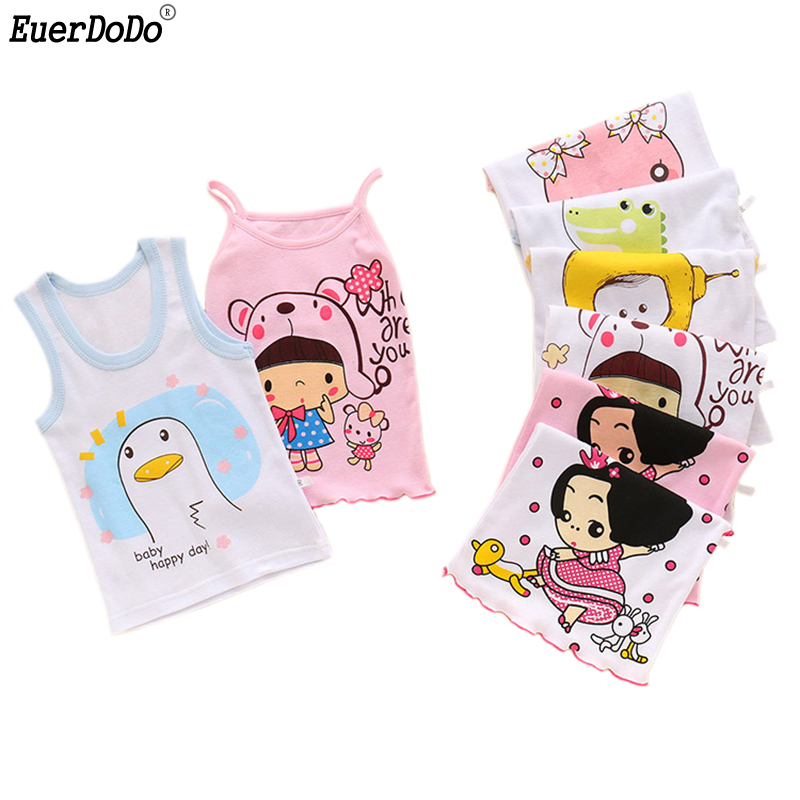 Summer Kids Singlets Cartoon Tank Tops For Girls Boys Underwear Model Girl Cotton Undershirt