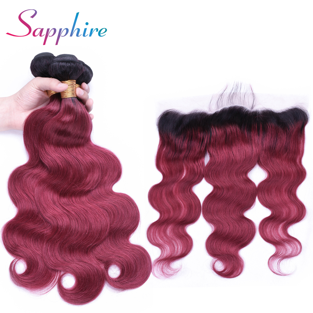 Sapphire Hair 13x4 Ear To Ear Lace Frontal Closure With Bundles Brazilian Body Wave Huma ...