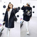 2016 New Autumn Women Casual Student Hoodies Outwear Loose Trench Coat  Dog Letter Print  Fashion Basic Trench Plus Size XS-2XL