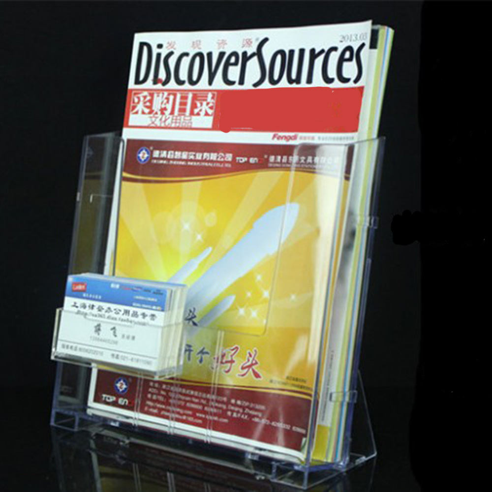 1pcs Transparent Acrylic A4  Display Stand Rack For Brochure Magazine Single Grid With Card Holder Office Supplies