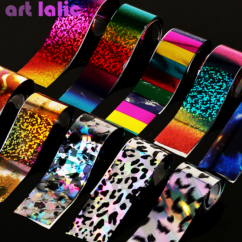 2020 New Fashion 10Pcs/set Holographic Starry Sky Leopard Nail Foils Nail Art Transfer Sticker Decal DIY Nail Tips Decoration