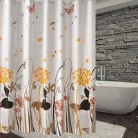 New 180*200cm Butterfly Flower 16 Wire Thick Waterproof Mouldproof PEVA Shower Curtain Bathroom Curtains with 12 hooks