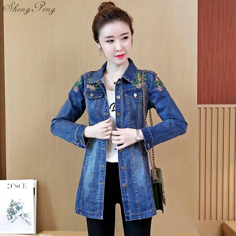 2018 nouveau automne jeans veste femmes mode denim vêtements femmes slim coton léger lavé jeans veste manteaux 5xl V1132