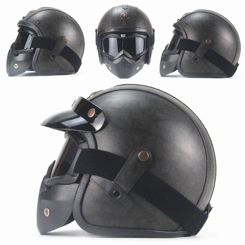 Free shipping PU Leather Helmets 3/4 Motorcycle Chopper Bike helmet vintage motorcycle helmet with goggle mask