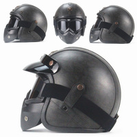 Free shipping PU Leather Harley Helmets 3/4 Motorcycle Chopper Bike helmet vintage motorcycle helmet with goggle mask