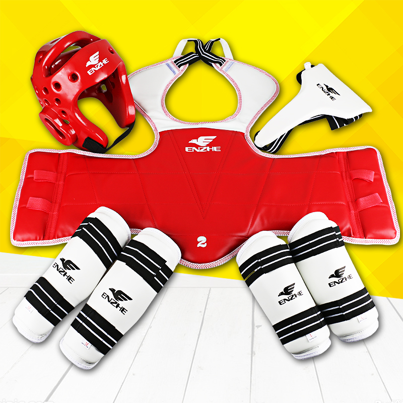 2017 New Taekwondo protectors WTF 5pcs Tae kwon do groin guard Chest forearm shin protector supporter Sparing gear Karate Helmet taekwondo protective gear set wtf hand chest protector foot shin arm groin guard helmet 8pcs children adult taekwondo karate set page 8