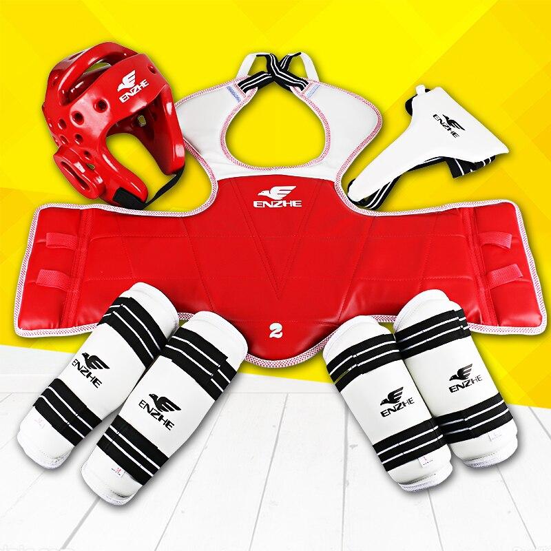 2017 Nouveau Taekwondo protecteurs WTF 5 pcs Tae kwon do aine garde Poitrine avant-bras shin protecteur support Épargnant vitesse Karaté casque