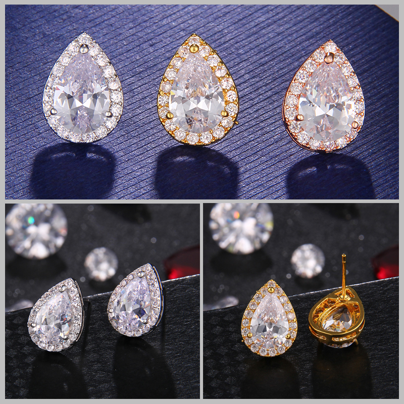 Nigerian Water Drop Cubic Zirconia Wedding Jewelry Sets inlay Luxury Crystal Bridal Jewelry Set Gifts For Bridesmaids AS099 4