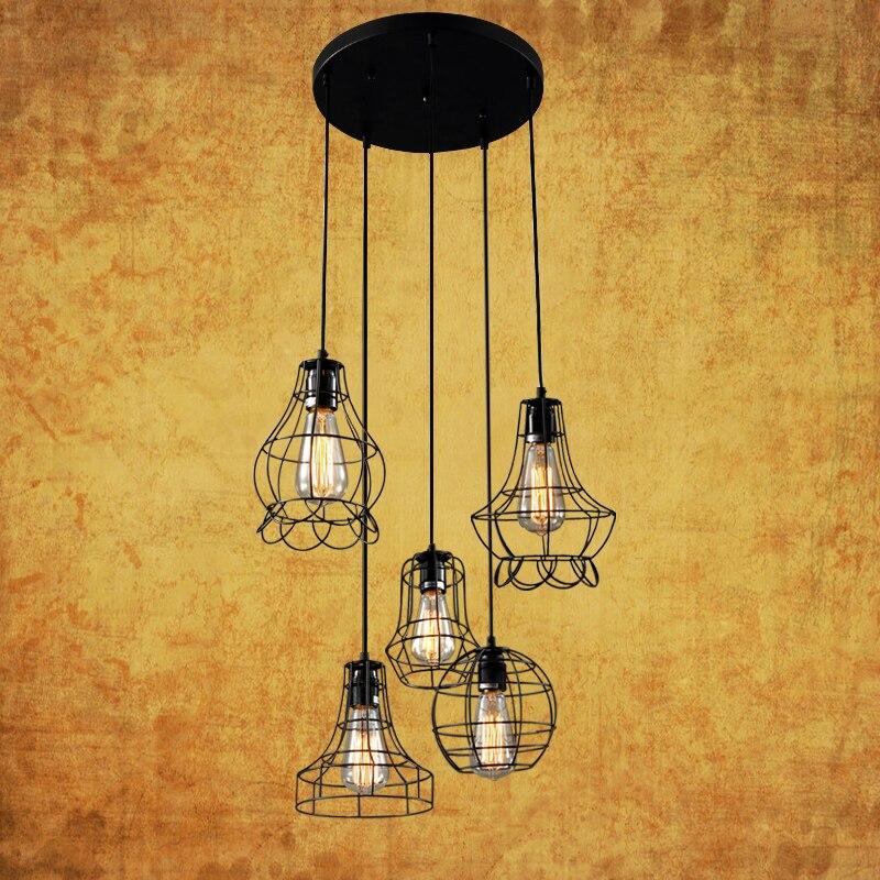 Lustre en métal de grange de 5 lumières maximum 200 w avec la finition noire, luminaire de lampes suspendues pour la décoration de salle à manger 220 ~ 240 V E27