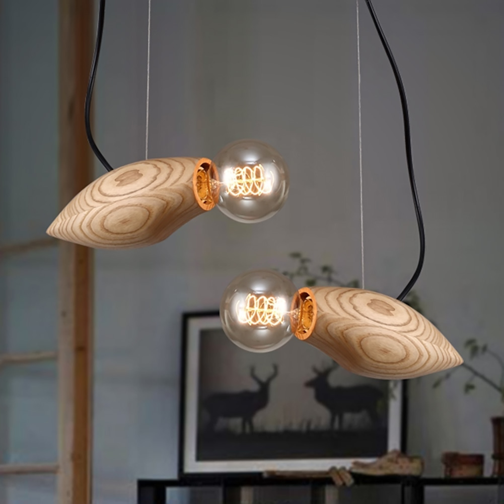 Wood Light For Dining Room Bedroom Fish Swim Home Lamp Fixture Design Lighting Light Decoration Creativity Pendant Lights novelty magnetic floating lighting bulb night light wood color base led lamp home decoration for living room bedroom desk lamp
