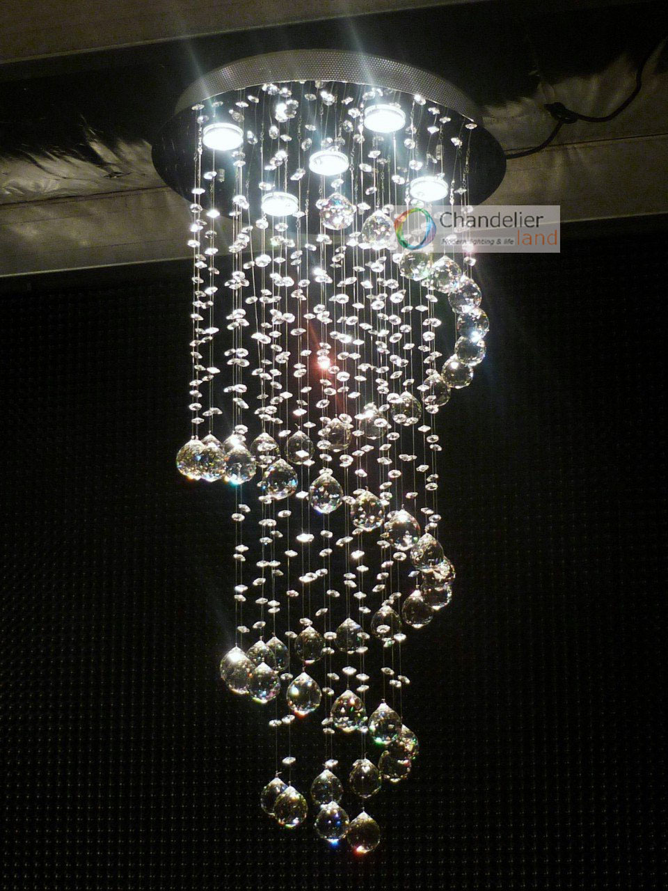 5 lights w157 x h40 new clear crystal chandelier spiral pendant 5 lights w157 x h40 new clear crystal chandelier spiral pendant lamp rain drop design led flush mount lighting in chandeliers from lights lighting on arubaitofo Gallery