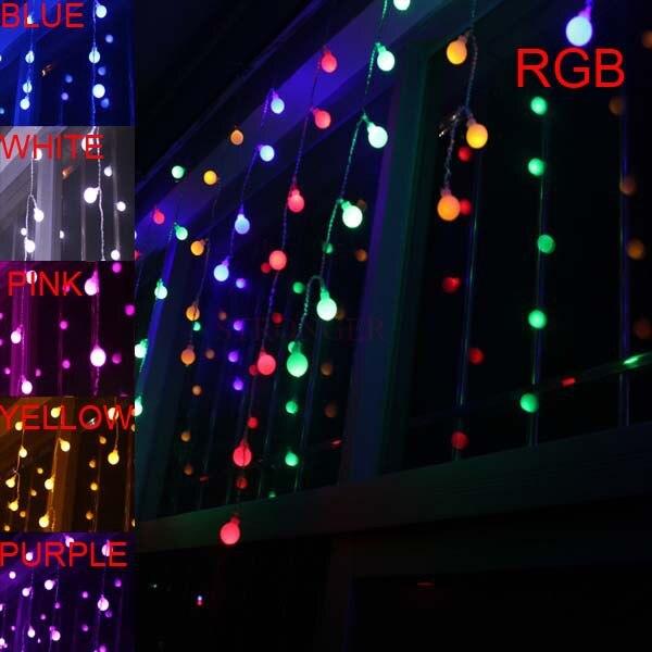smd 3.5m 100 100 bolas multicolor led string luz tira feriado festival casamento natal decoracao cortina lâmpada ue/us/uk/au