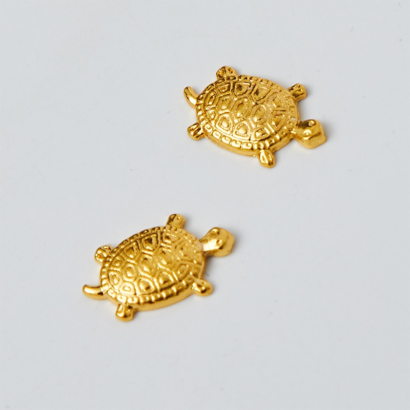 Chinese Handmade Gold Metal Turtle Figurine Miniature Feng Shui Lucky Charms Home Decorative Ornament Collectible